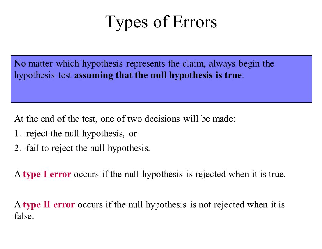 Fail to reject the null hypothesis type error prosthesis schedule