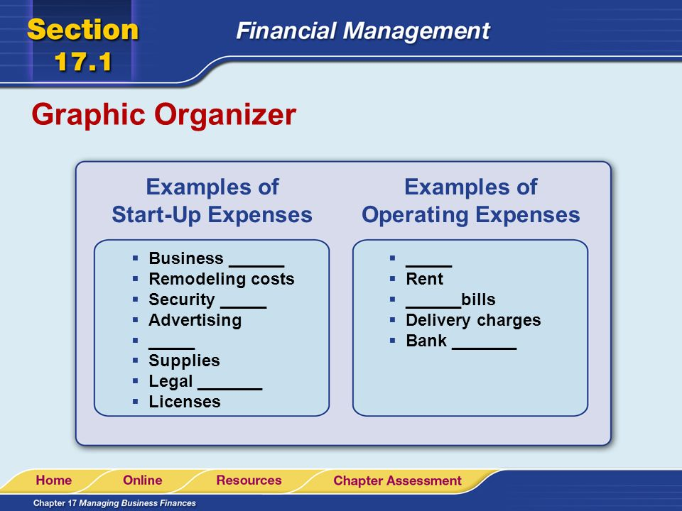 start up expenses example