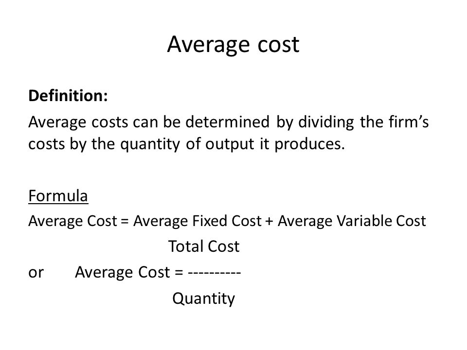 Average cost of