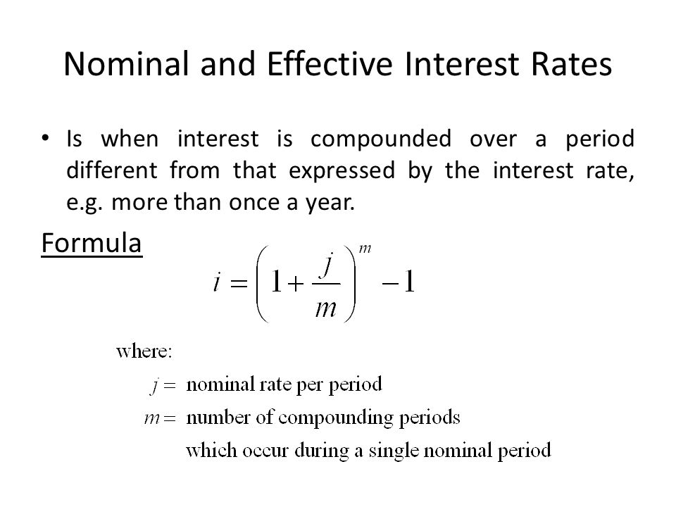 Converts the nominal annual interest rate to the effective one and vice versa.