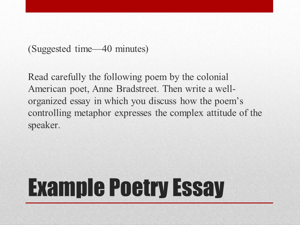 ap english literature and composition national exam ppt video example poetry essay suggested time 40 minutes