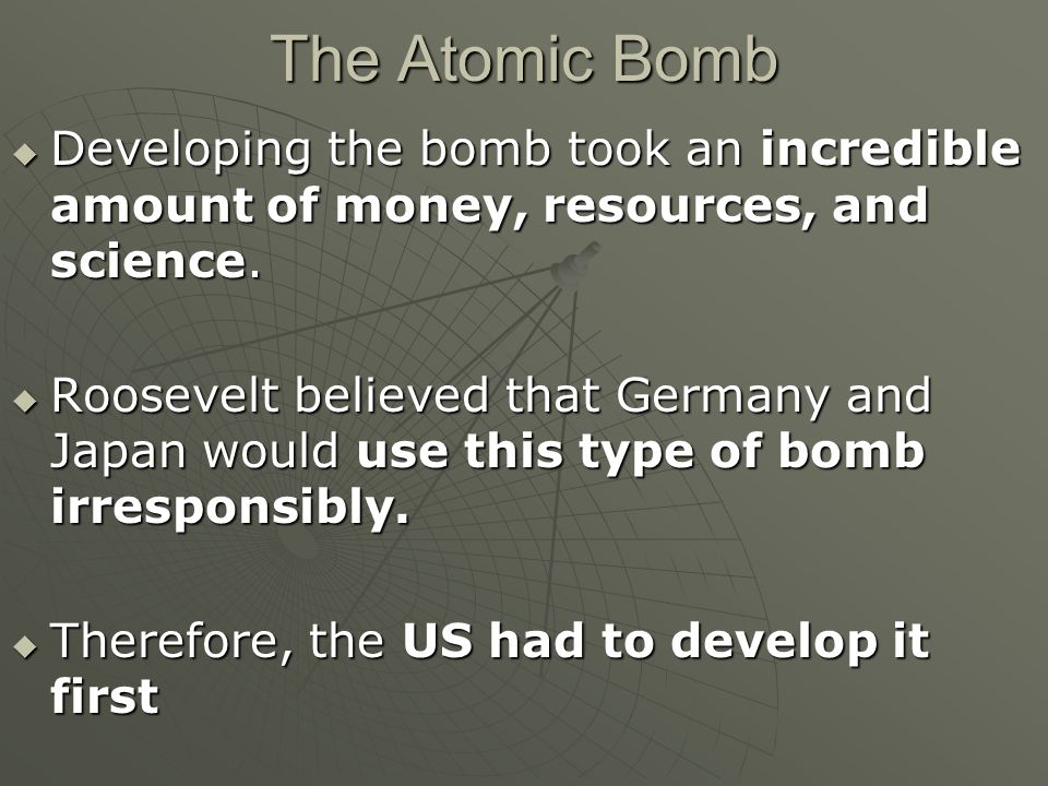 an overview of the development of the atomic bomb How did the united states achieve the remarkable feat of building an atomic bomb of scientific research and development by the atomic heritage foundation.