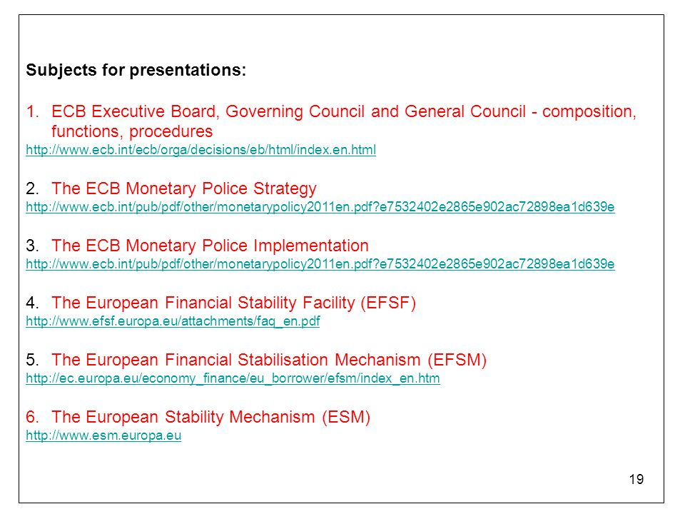 eu monetary union history of the eu monetary union ppt  19 subjects for presentations