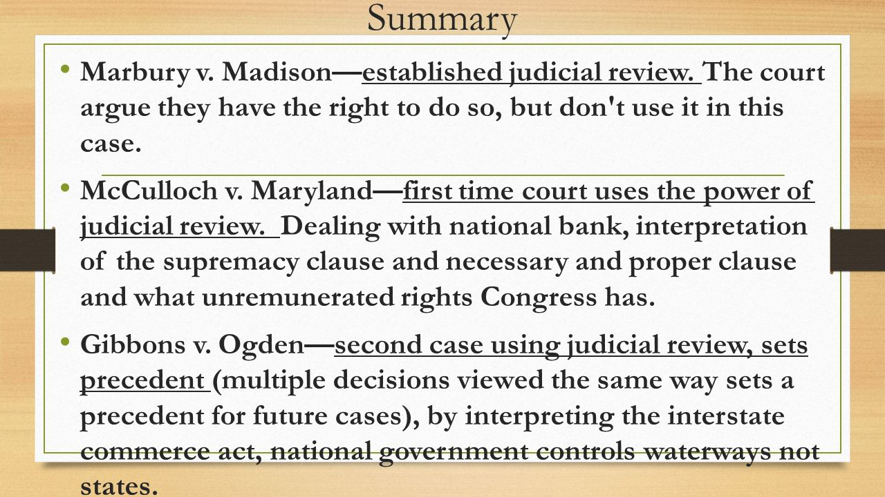 the marshall court ppt video online summary marbury v madison established judicial review the court argue they have the