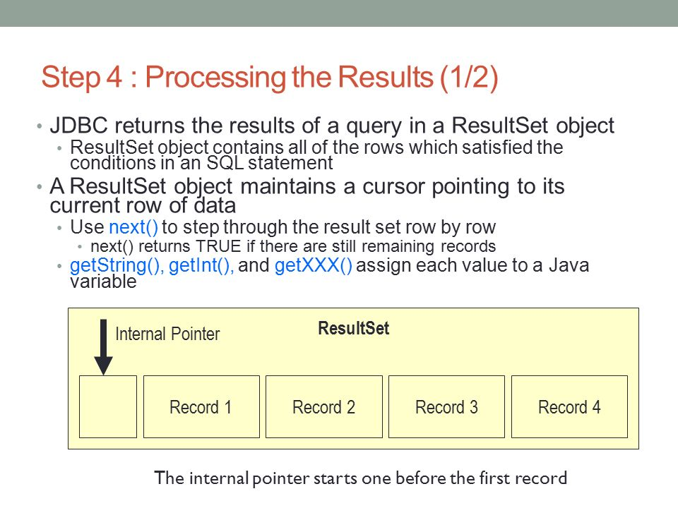 return resultset in java