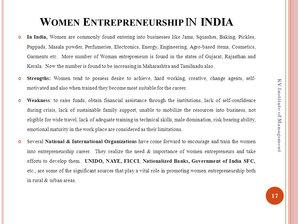 women entrepreneurship in india management essay Read this essay on women entrepreneurship in india come browse our large digital warehouse of free sample essays get the knowledge you need in order to pass your.