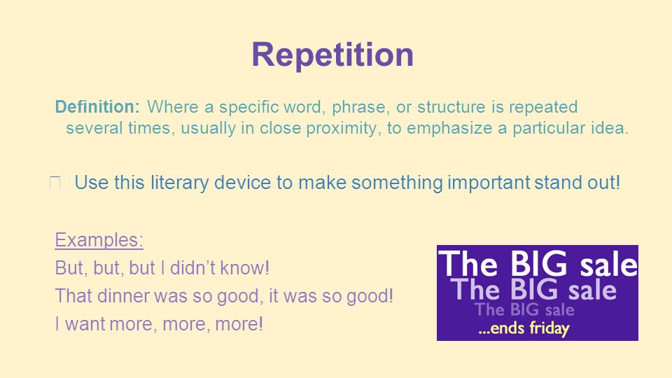 5.R.3.3 Students can identify literary - ppt video online ... Repetition In Literature