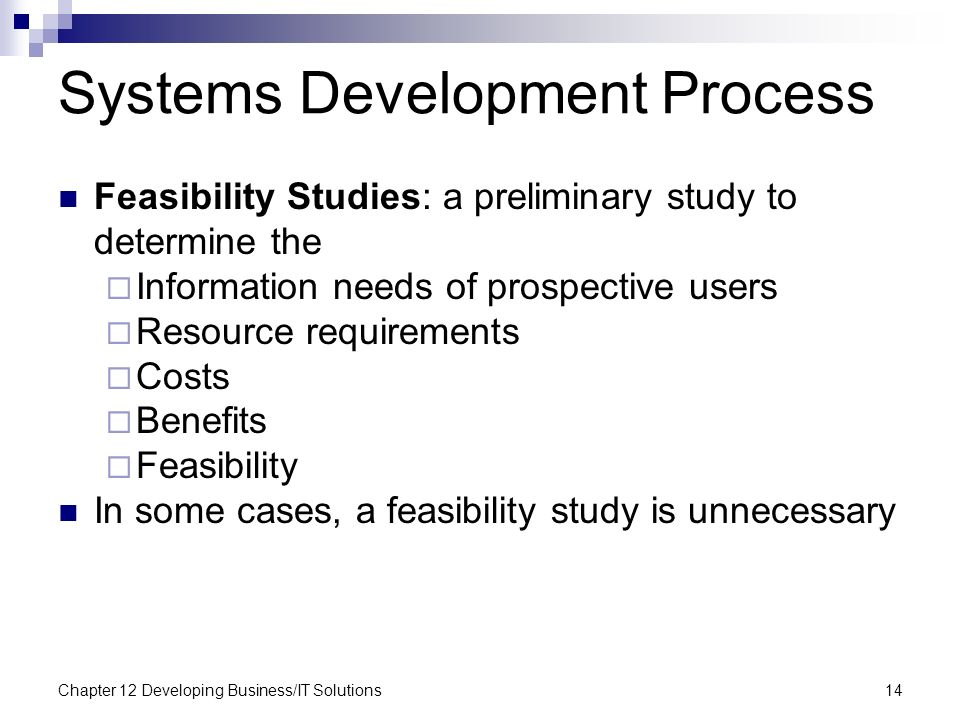 Plan for determining the feasibility of the systems development