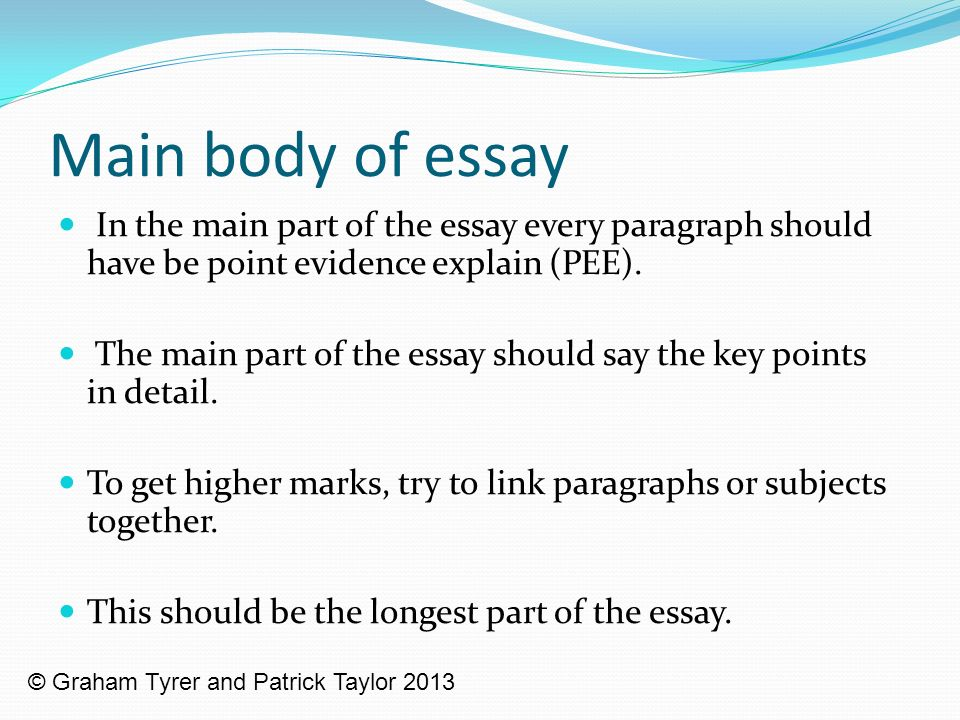 main parts of essay