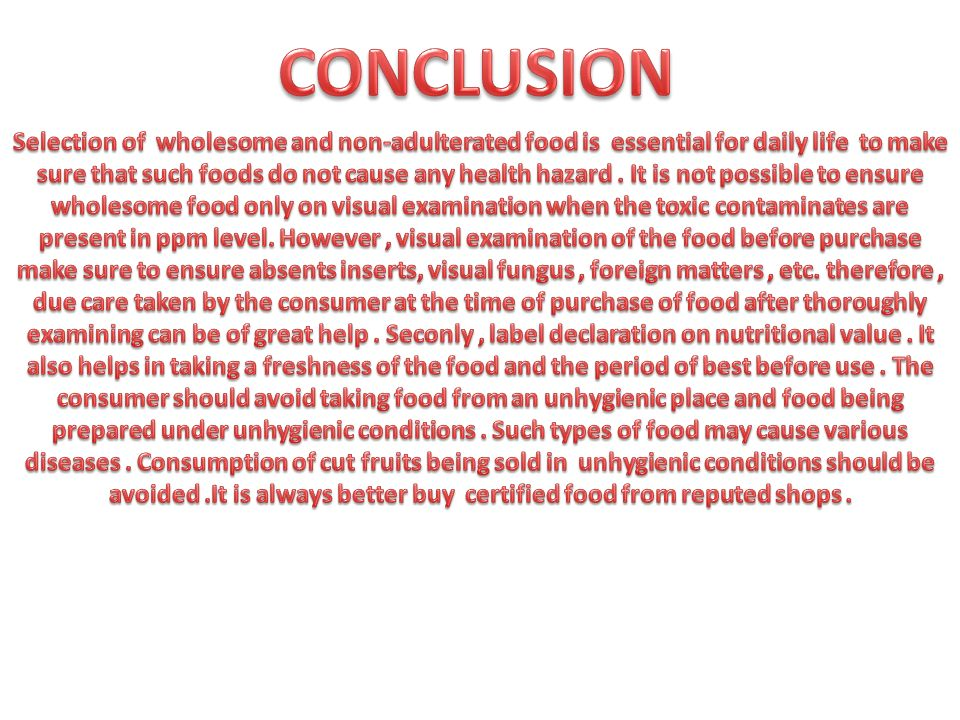 write a report on food adulteration