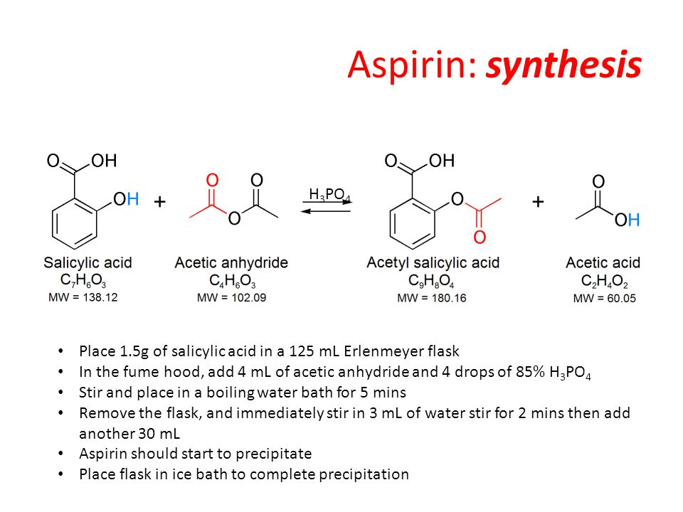 aspirin synthesis Organic molecules have a wide range of applications occur both intracellular as well as in many different industries the reactions use the reactivity of functional groups attached to organic molecules, as well as general chemistry concepts such as le chatelier's principle ().