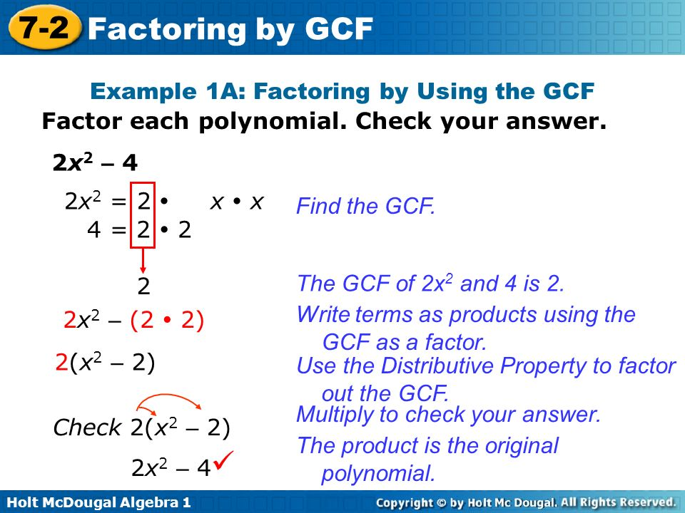 Greatest common factor worksheets with answers