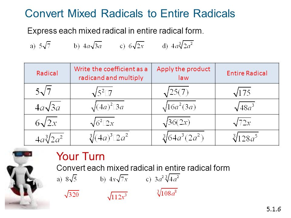 how to find the exact value of mixed radical
