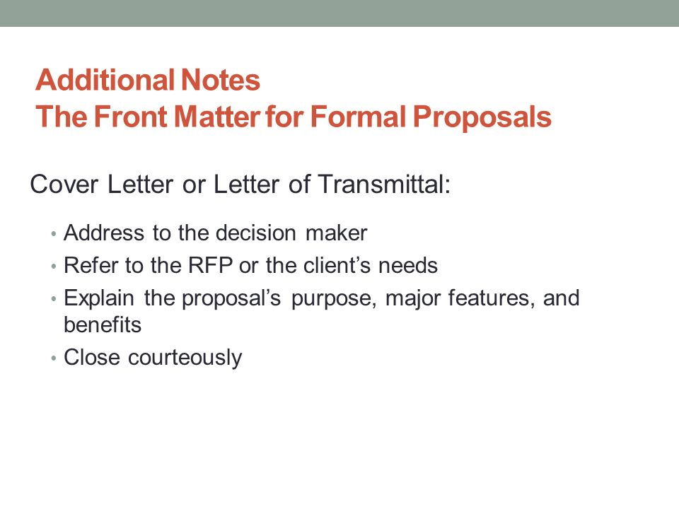 Proposals and Formal Reports ppt download – Letter of Transmittal for Proposal