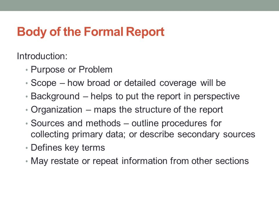 formal report outline