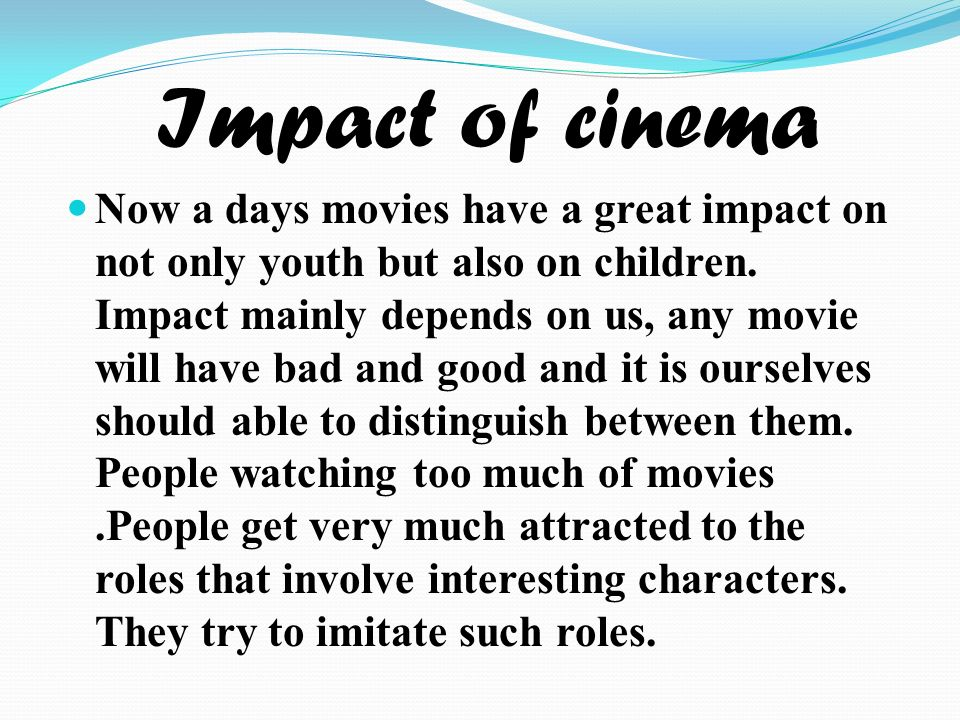 impact of cinema on youth Transcript of impact of hitler: social impact  youths were brainwashed by the nazis special nazi youth organisations were set up after hitler camp to power.