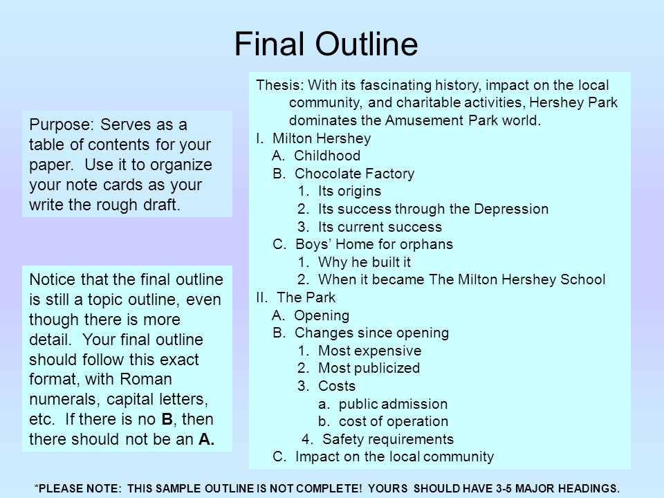 "final outline The final roman numeral should be your ""conclusion"" in the conclusion, you summarize what you have told your reader sample outline #2."