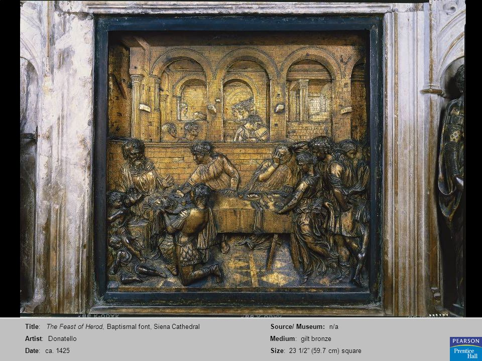 Title: The Feast of Herod, Baptismal font, Siena Cathedral
