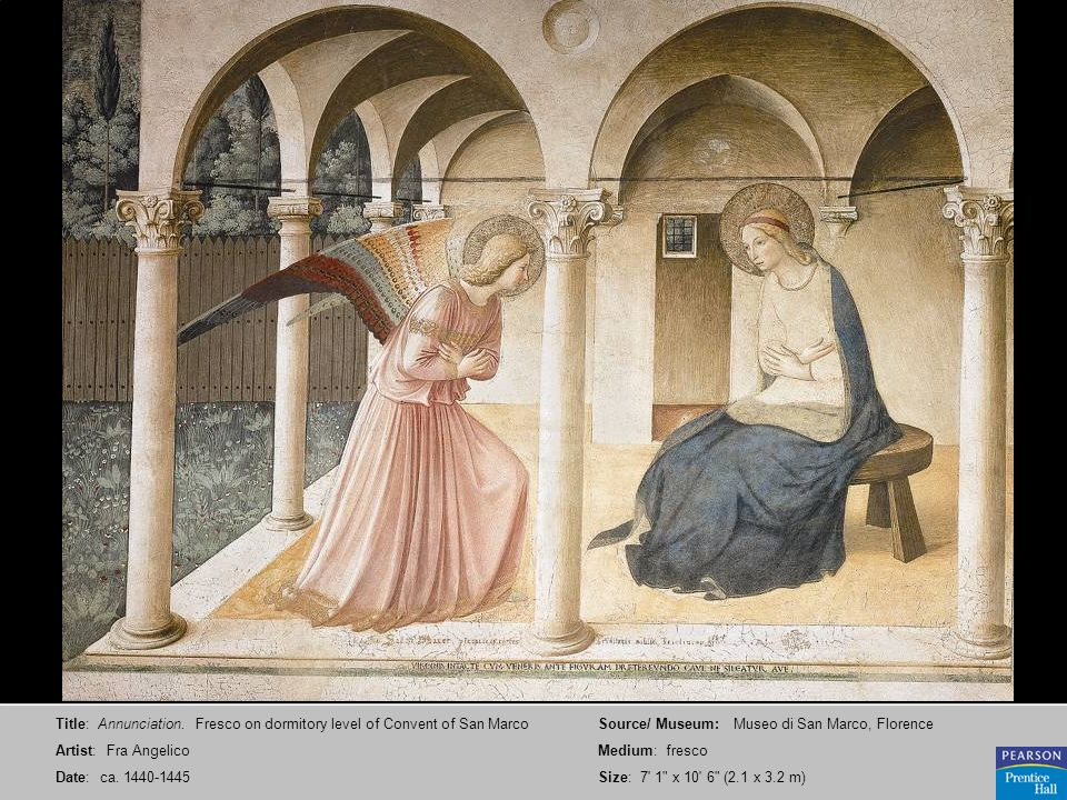 Title: Annunciation. Fresco on dormitory level of Convent of San Marco