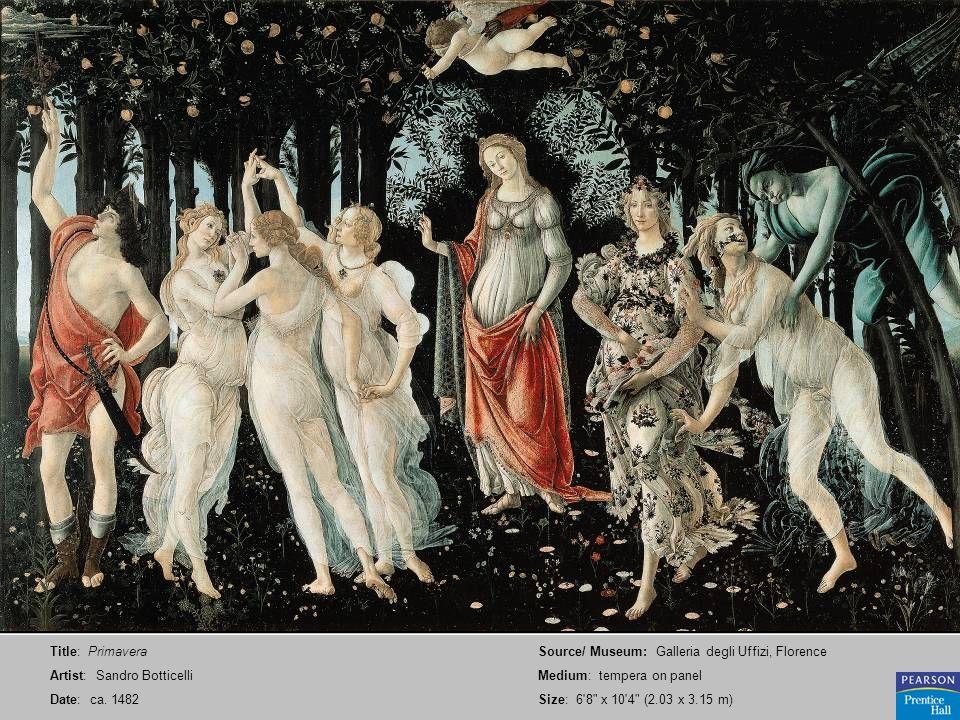 Title: Primavera Artist: Sandro Botticelli. Date: ca. 1482. Source/ Museum: Galleria degli Uffizi, Florence.