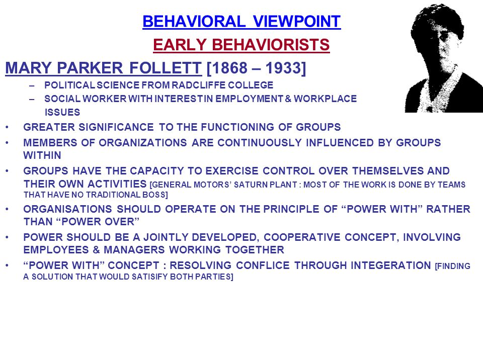 BEHAVIORAL VIEWPOINT EARLY BEHAVIORISTS
