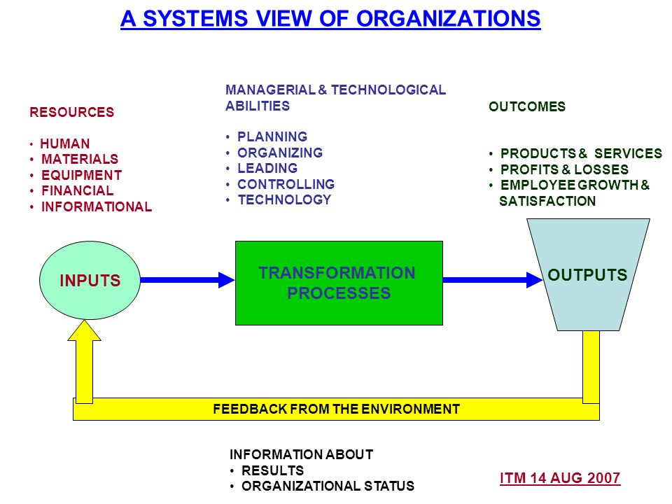 A SYSTEMS VIEW OF ORGANIZATIONS