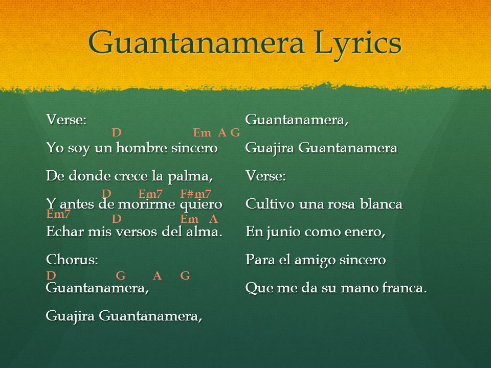 Lyric guantanamera lyrics : Where is this music from? - ppt video online download