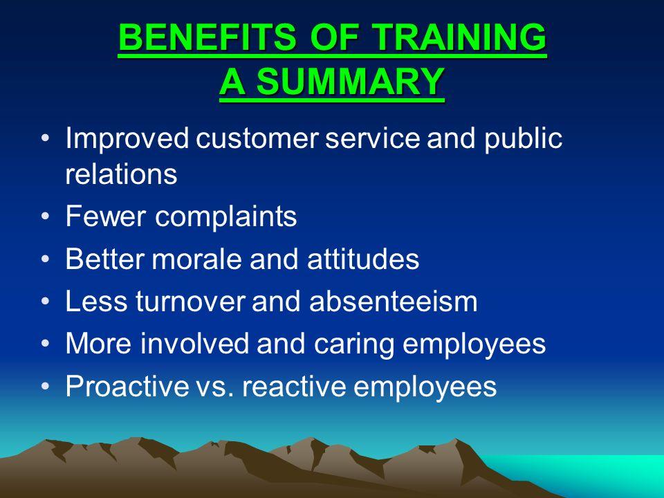 BENEFITS OF TRAINING A SUMMARY
