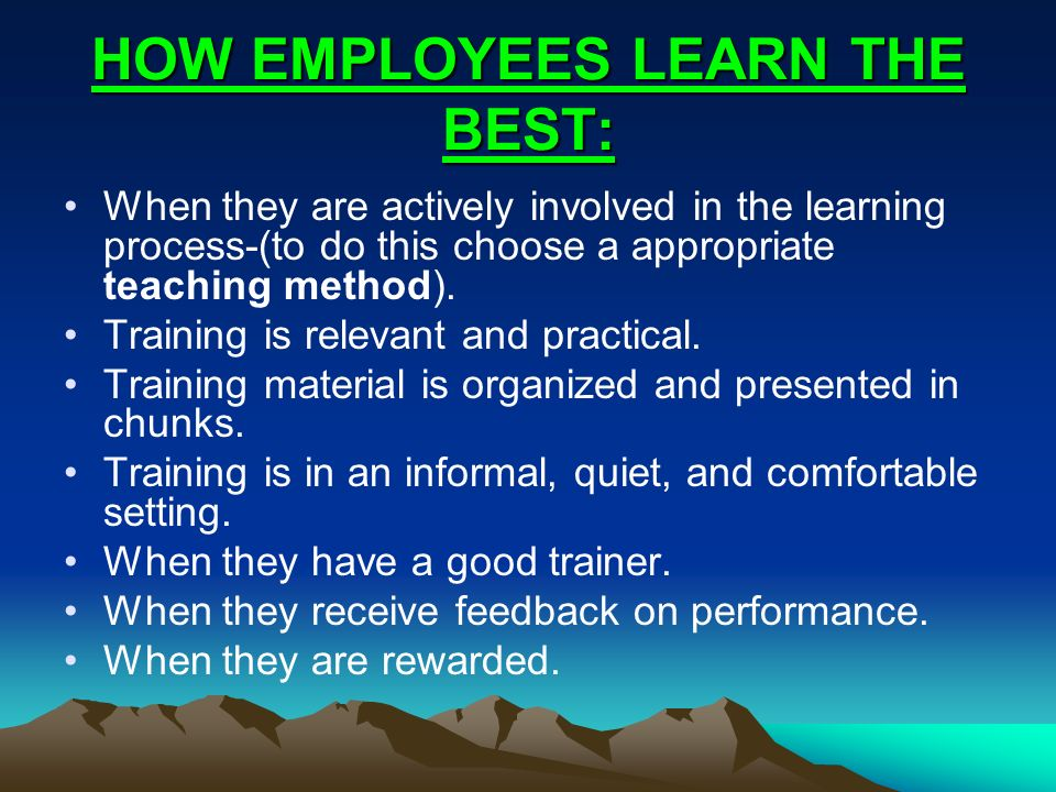 HOW EMPLOYEES LEARN THE BEST: