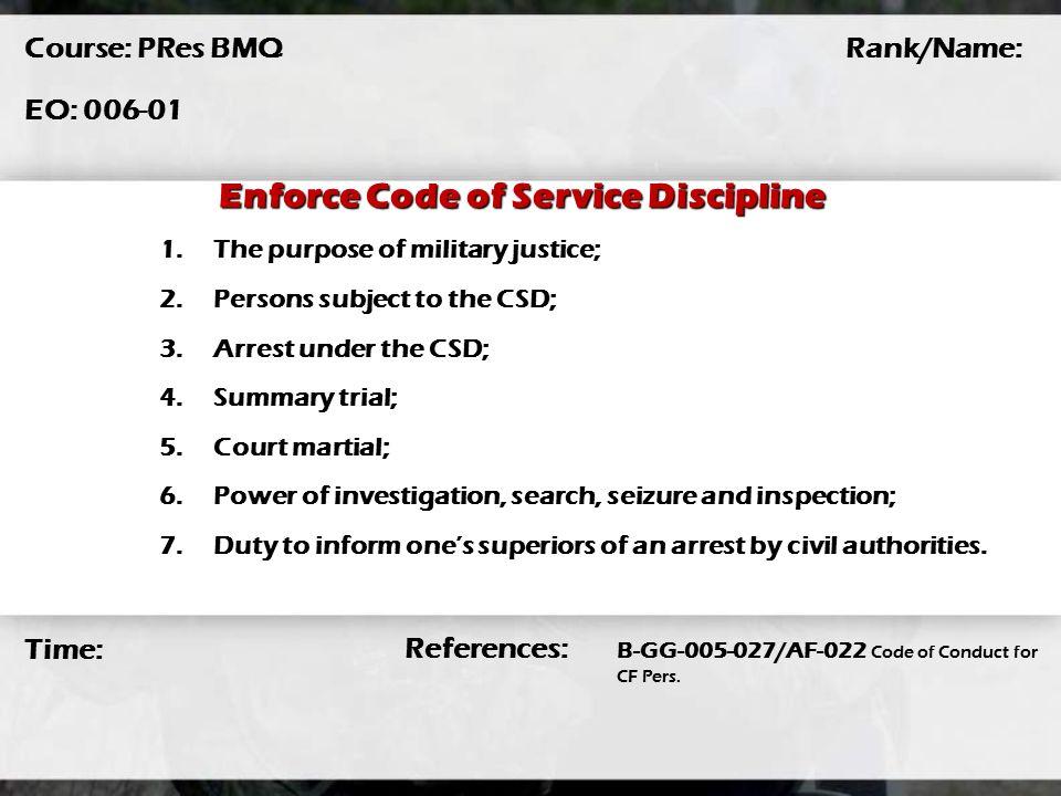 code of service discipline pdf