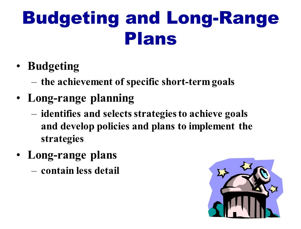 Budgeting and Long-Range Plans