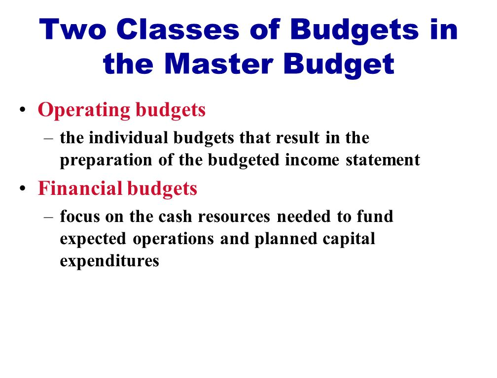 Two Classes of Budgets in the Master Budget