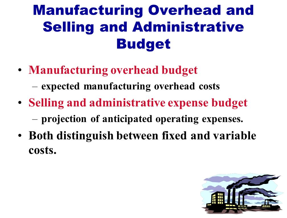 Manufacturing Overhead and Selling and Administrative Budget