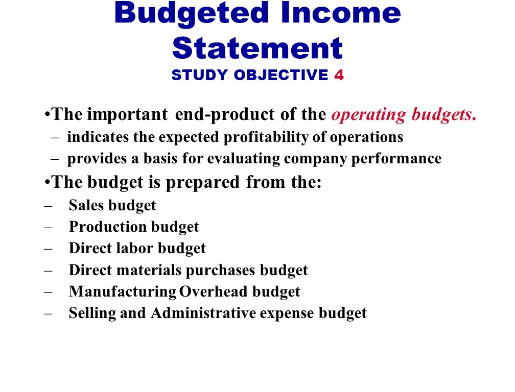 Budgeted Income Statement STUDY OBJECTIVE 4