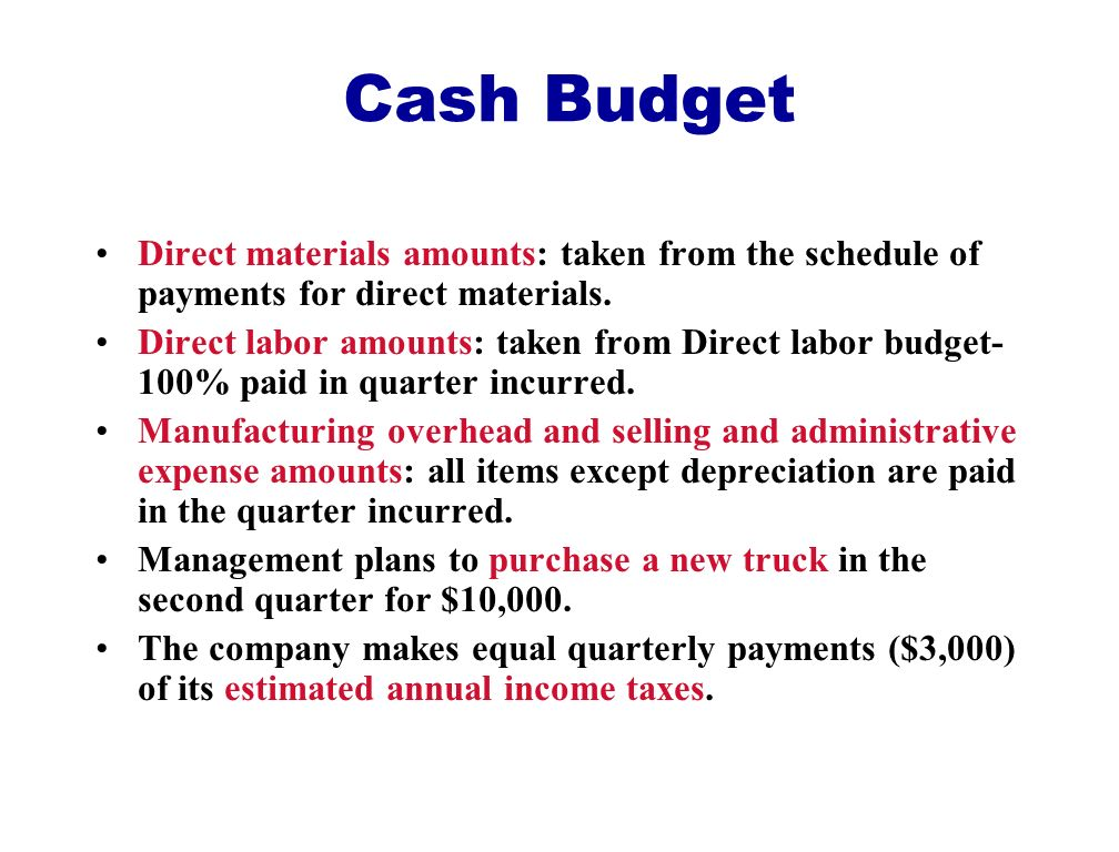 Cash Budget Direct materials amounts: taken from the schedule of payments for direct materials.