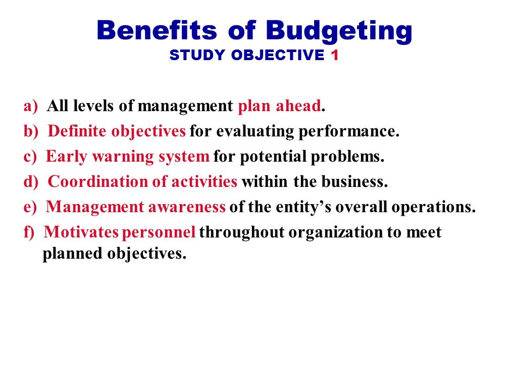 Benefits of Budgeting STUDY OBJECTIVE 1