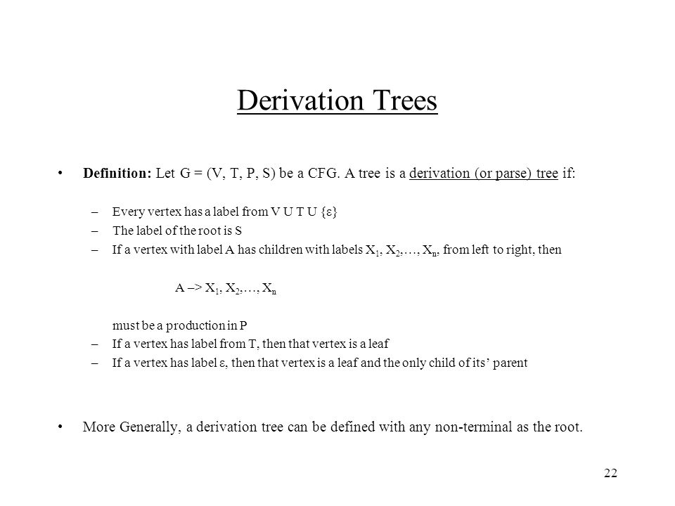 22 Derivation Trees Definition: ...