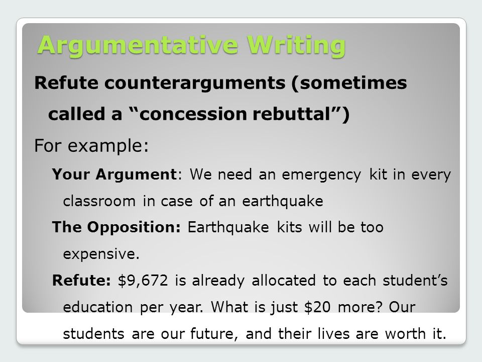 refuting an argument essay Writing a counterargument and refutation counterargument the counterargument paragraph is developed in much the same way that an argument.