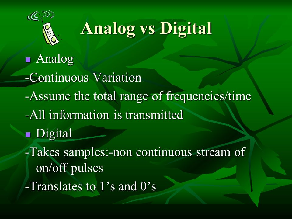 analog vs digital communication It allows you to see what happens to both analogue and digital signals with the  same amount of noise side by side there is a worksheet to.