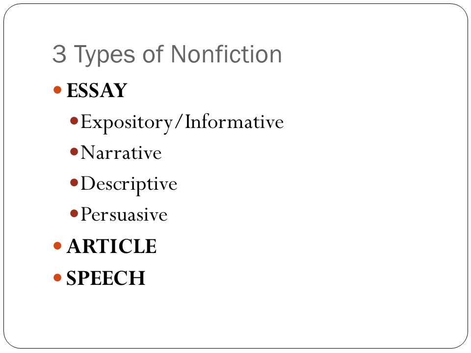 3 types of narrative essays The 7 narrator types: and you thought there were only two i'm employing this narrative device on my the 7 narrator types: and you thought there were only.