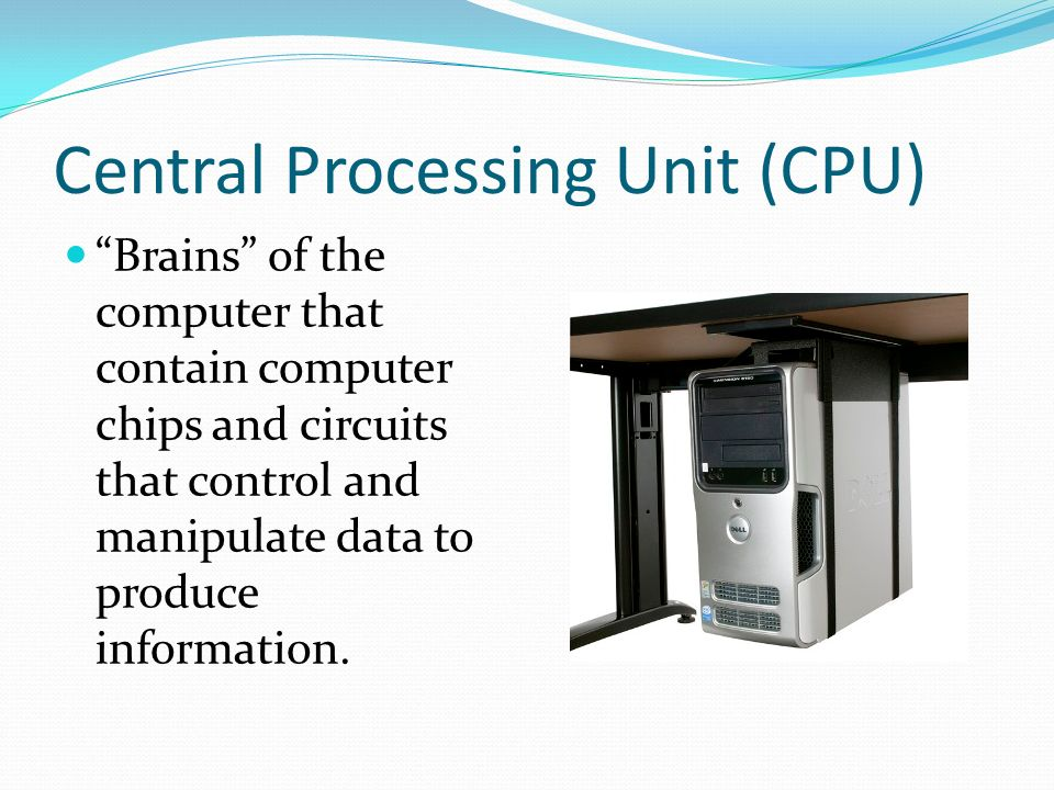 central processing unit information A central processing unit, also known as central processor unit, is the hardware inside a computer system that process instructions.
