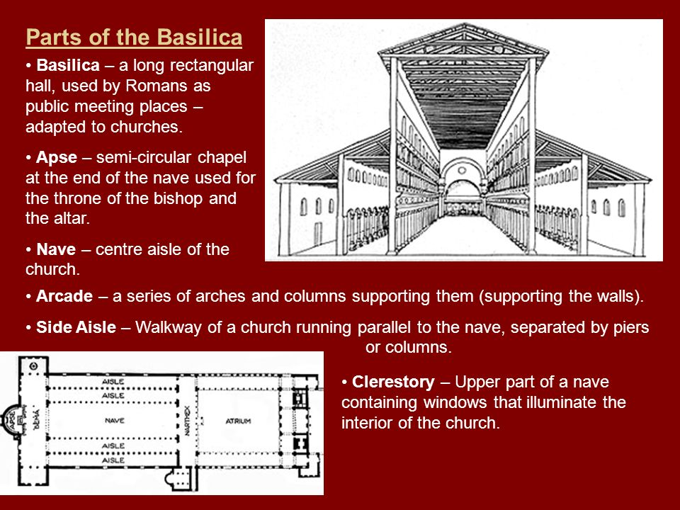Parts of the Basilica Basilica – a long rectangular hall, used by Romans as public meeting places – adapted to churches.