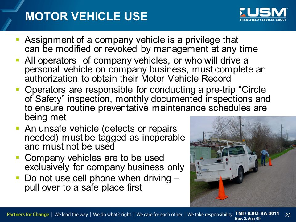 Hse training supervisor safety responsibility ppt video for Motor vehicle driving record