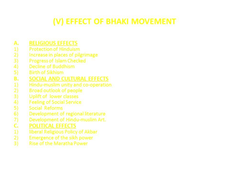 (V) EFFECT OF BHAKI MOVEMENT