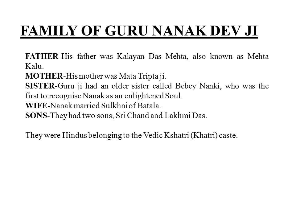 FAMILY OF GURU NANAK DEV JI