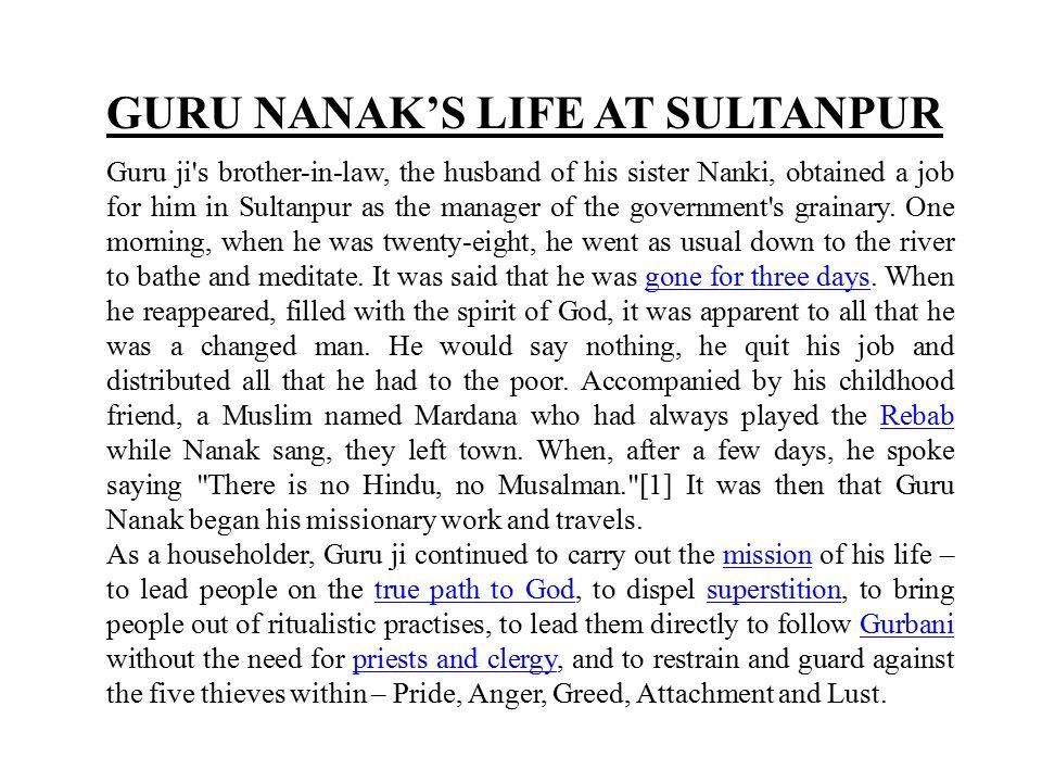GURU NANAK'S LIFE AT SULTANPUR