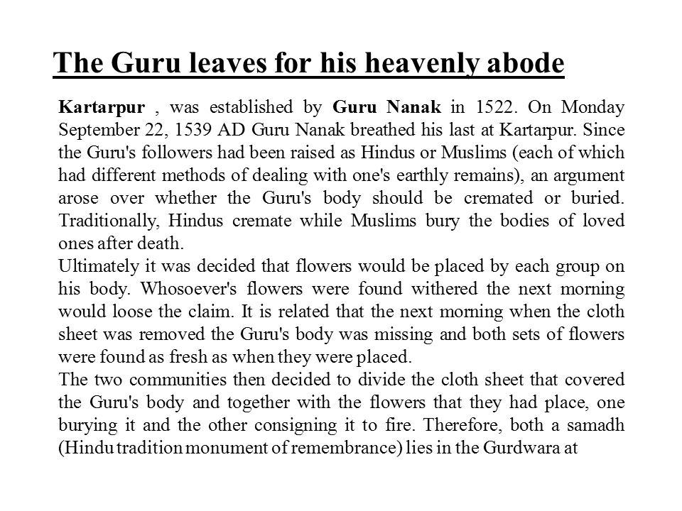 The Guru leaves for his heavenly abode
