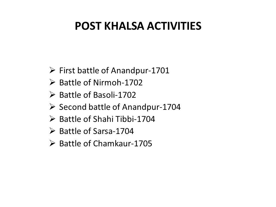 POST KHALSA ACTIVITIES