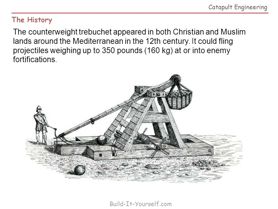 history of catapults Catapult history and modern day construction by baintighearn aimiliona tevnane cw during the middle ages, many weapons were created to help aid in the winning of battles.