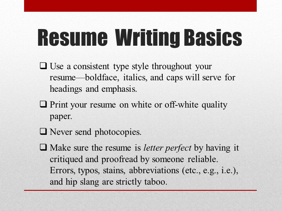 basic resume writing ppt
